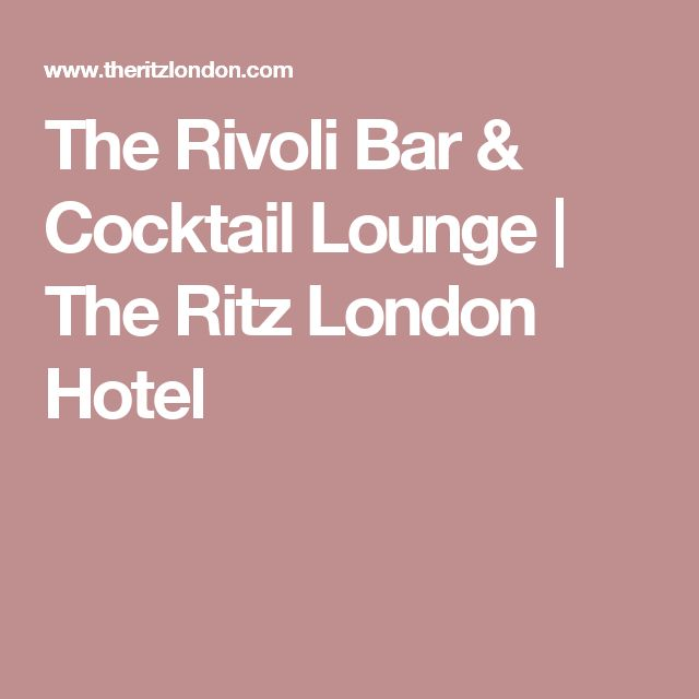 The Rivoli Bar & Cocktail Lounge | The Ritz London Hotel