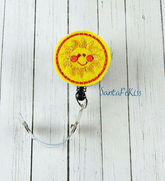 Sun ID Badge Holder Embroidered Felt Badge Reel Retractable