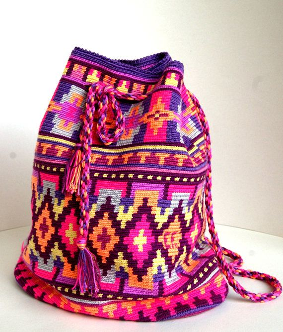 Colorful crochet mochila bag  Colorful original crochet