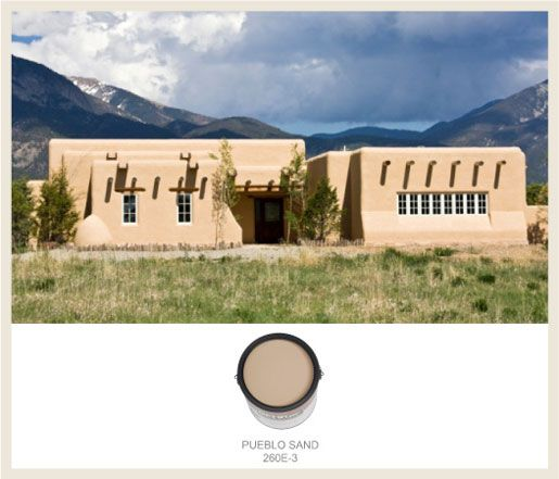 The design style of Southwestern adobe homes calls for muted brown-oranges and turquoise blue. See the BEHR paints that match here on Colorfully BEHR.