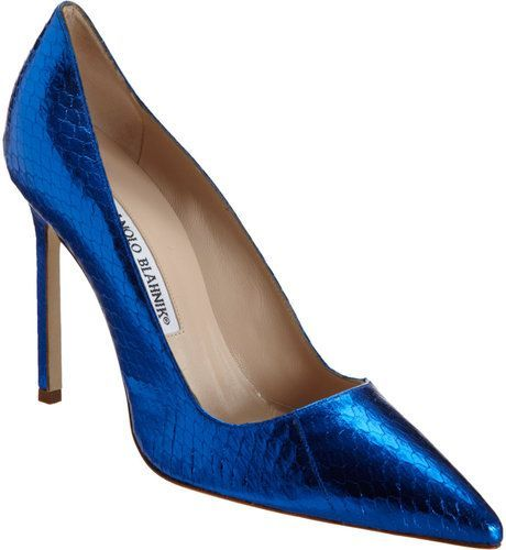 8bfa7a4f7 Manolo Blahnik Metallic Stamped Bb in Blue   Lyst   Manolo blahnik ...