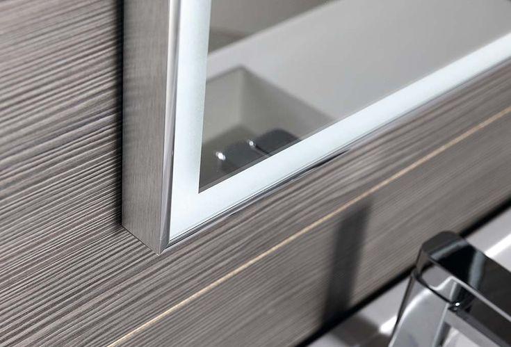 LUMINAR zrcadlo v rámu s LED osvětlením 1200x550mm, chrom, SAPHO E-shop