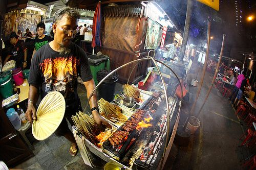 Satay stall at Boon Tat Street, Singapore. A satay heaven for Indonesian satay lovers. You will find various satay from A to Z #SGTravelBuddy