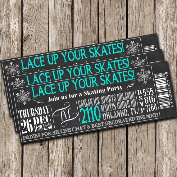 Chalkboard Skating Party Invitation - Ice Skating Birthday Party - DIY Printable