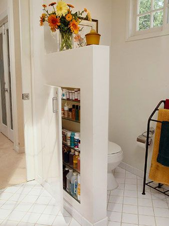 "Smart! Short walls are also called pony walls or knee walls and Better Homes and Garden suggests cutting into them to create untapped storage space in their article ""26 Great Bathroom Storage Ideas"" –"