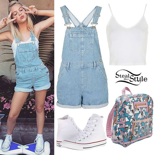 Jordyn Jones: Denim Overall Shorts