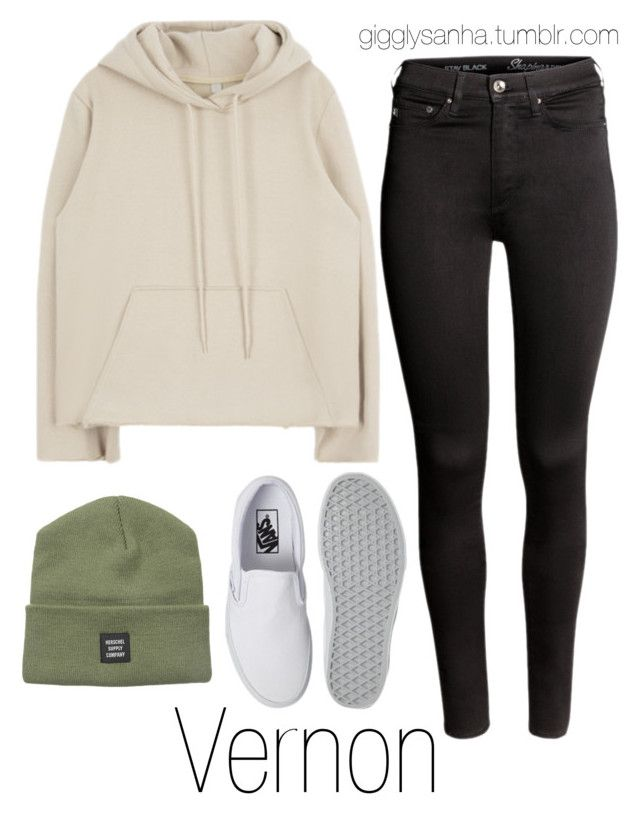 """""""How they would dress as girls // Vernon"""" by suga-infires ❤ liked on Polyvore featuring H&M, Herschel Supply Co. and Vans"""