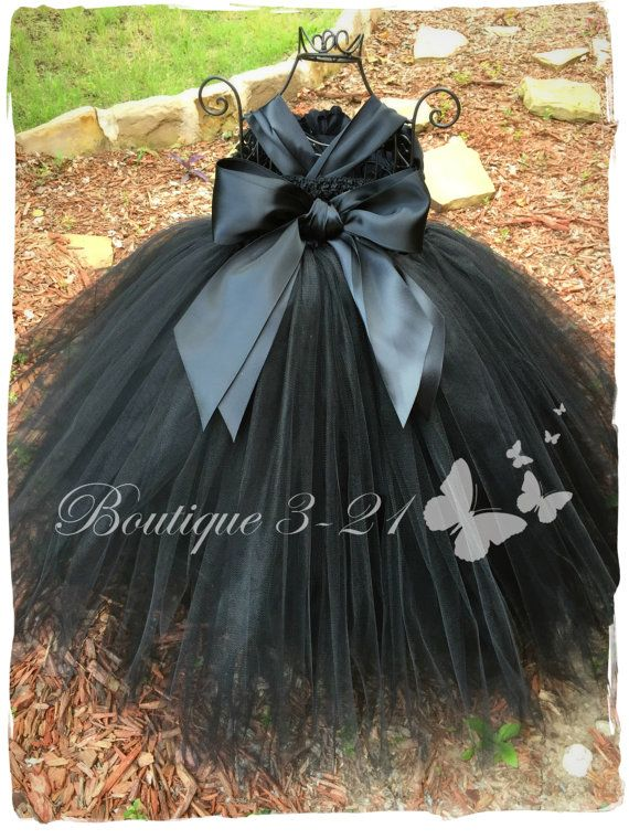 On SALE Black Flower Girl Dress Black Tutu Dress Black