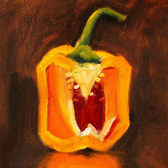 Still Life Oil Painting, Original Yellow Pepper, Small 6x6 Canvas, Orange Kitchen Decor, Wall Art, Square Format, Vegetable Slice