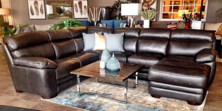This stunning sectional is just coming onto our floors! The Greco is regularly stocked in 100% leather with the chaise on the left or the right, and also as a sofa grouping.