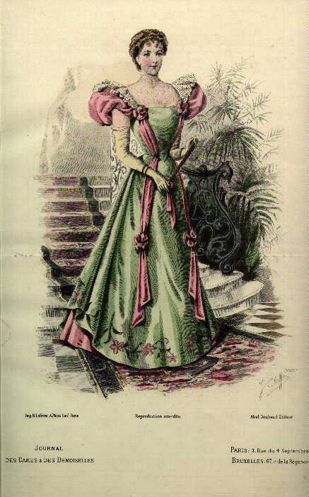 1890s fashion plate, pink and green combination
