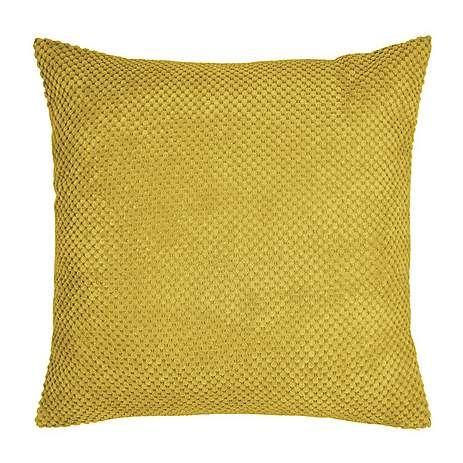 Large Chenille Spot Yellow Cushion | Dunelm