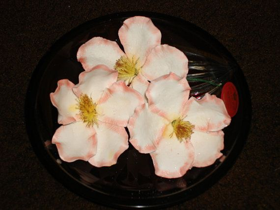 Three Lifesize Gum Paste Briar Roses Wild Roses by GumpasteGarden, $6.25