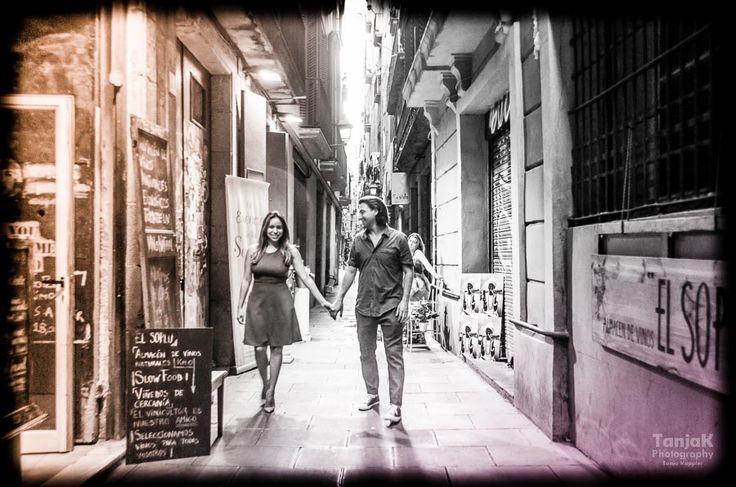 Lovers walk in Barcelona