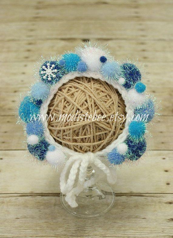 Winter Wonderland Bonnet    Newborn photography prop by ModisteBee, $40.00
