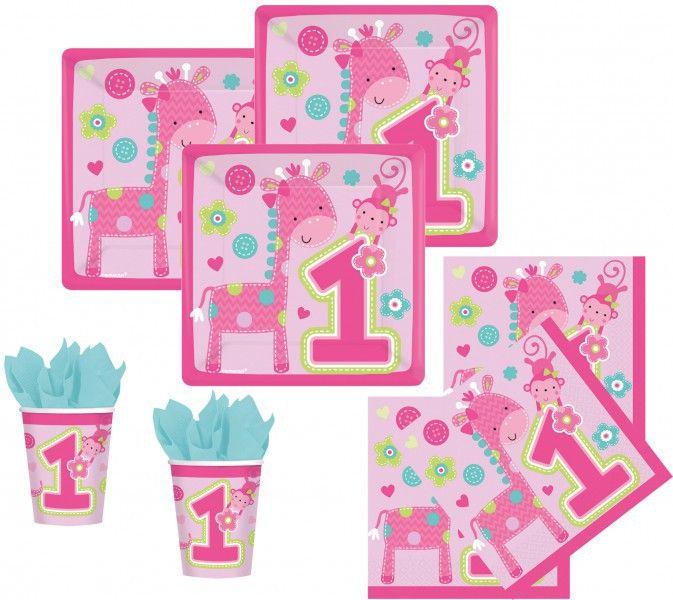 Erster Geburtstag Party Deko! Rosa 1. Geburtstag Mädchen Party Deko Ideen  Mit Giraffe Und