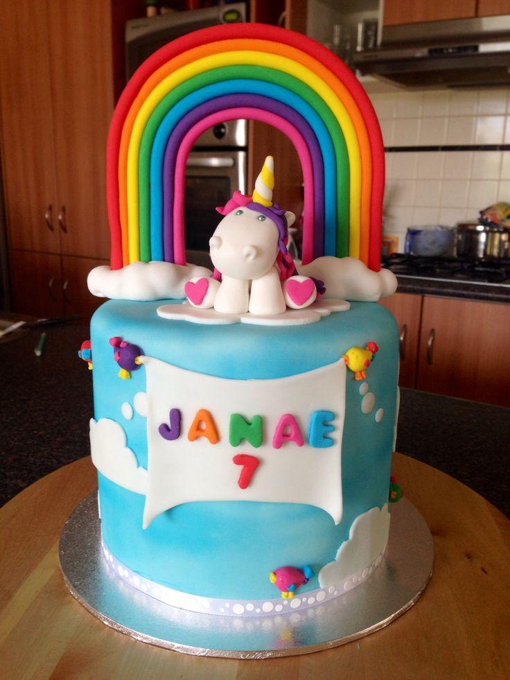Rainbow/Unicorn cake for my daughter Janae's 7th birthday.