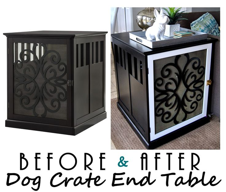 Beautiful DIY: Dog Crate End Table. My Boston Would Love This. Cute Statue Too