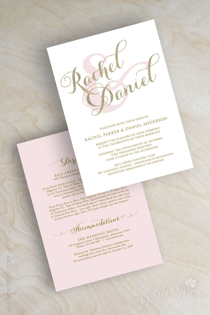 sample of wedding invitations templates%0A Gold glitter sparkle wedding invitation  pink and gold wedding invitations   typography  script names