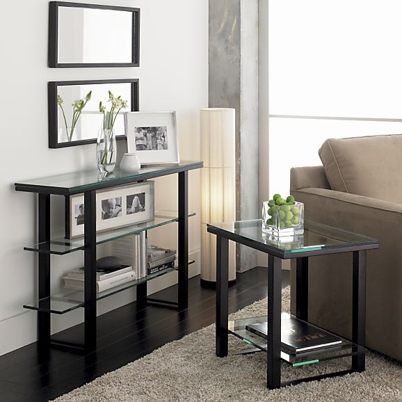 mix console table in tables crate and barrel behind sofa