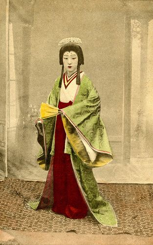 "The outside corners of his eyes are painted red, indicating that this is a male Kabuki actor in the role of a woman. He might be Onoe Baikô VI in the play entitled ""Heikegani"", which premiered in Osaka during April 1912. ""Heikegani"" was based on a popular Edo picture book in which a young fisherwoman encounters the spirit of Tamamushi, a Heike court lady from the Heian period (794-1185 CE). Onoe Baikô VI was one of the best Onnagata of the Meiji, Taisho and the first years of the Showa…"