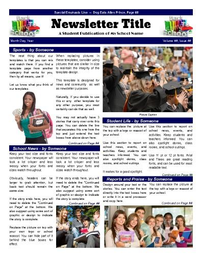 "School Front Page template that emphasizes various areas of school life.  Try this 11""x14"" newsletter template now using our Free Cloud Designer: www.makemynewspaper.com/free-newsletter-templates"