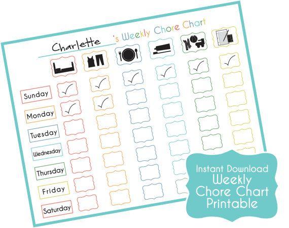 Corvée simple tableau enfants - tableau de récompense pour imprimer - organisation familiale - Toddler corvée graphique (téléchargement immédiat)