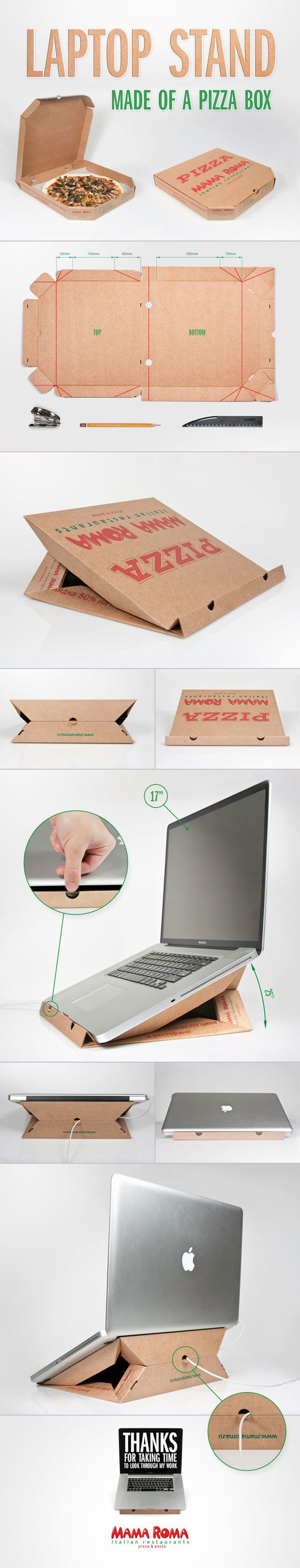Laptop stand with pizza packaging