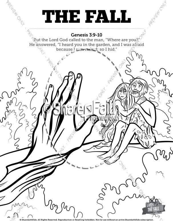 The Fall Of Man Genesis 3 Bible Coloring Pages Sunday School