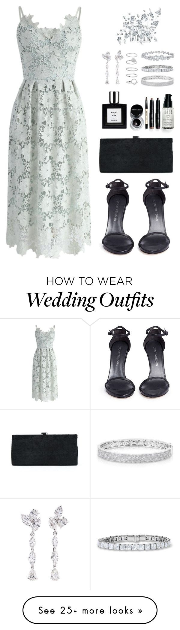 """Hoshi X Wedding Guests"" by jleeoutfitters on Polyvore featuring Chicwish, Bling Jewelry, Stuart Weitzman, Sondra Roberts, Bobbi Brown Cosmetics, Anyallerie, Anne Sisteron and Harry Winston"