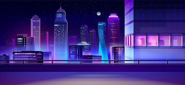 Download City Night Skyline Cartoon Background For Free Cartoon Background Anime City Modern City