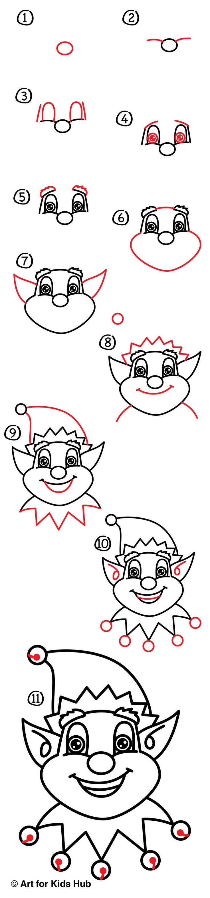Christmas is almost here, learn how to draw a Christmas elf face! Follow along and learn how to draw your own Santa's helper.