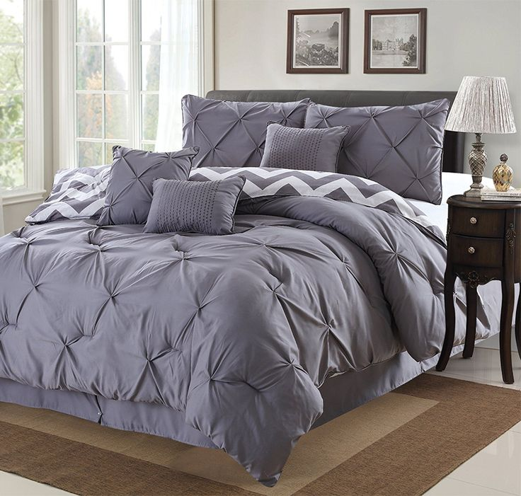 Amazon.com: 7 Piece Modern Pinch Pleated Comforter Set (Queen, Grey): Bedding & Bath