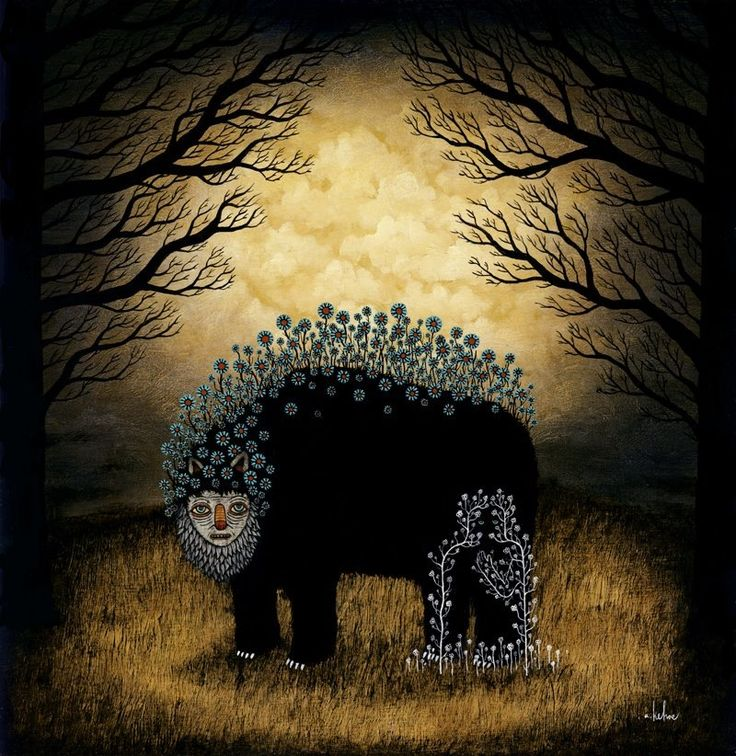 "Andy Kehoe Art The Unseen Gather in Secret  ""The World Unseen and Those In Between""  Oil & Acrylic on Wood Panel 2009 18"" x 18"""