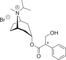 Ipratropium bromide (INN, trade names Atrovent) is an anticholinergic drug used for the treatment of chronic obstructive pulmonary disease and acute asthma. It blocks the muscarinic acetylcholine receptors in the smooth muscles of the bronchi in the lungs, opening the bronchi.