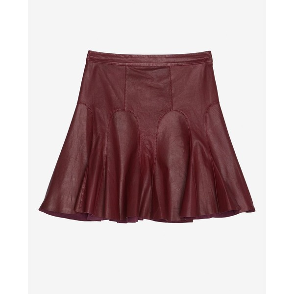 10 Crosby 10 Crosby Tulip Flared Leather Skirt: Bordeaux ($369) ❤ liked on Polyvore