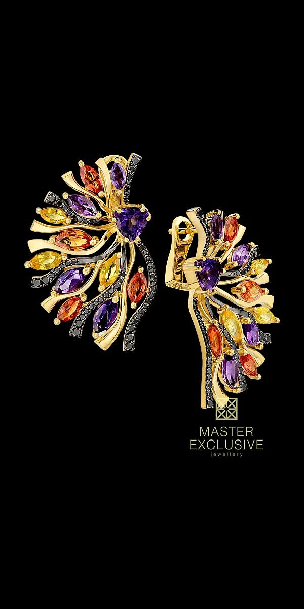 Earrings 13174 Collection: Kaleidoscope 18K yellow gold, amethyst 1,28 ct, black diamonds, orange and yellow sapphires, amethysts.