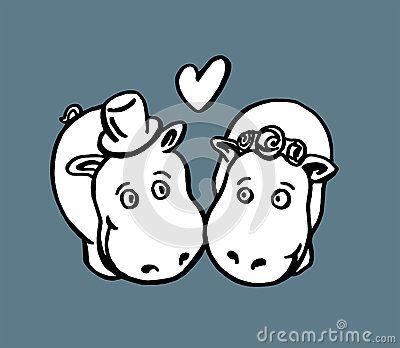 Vector animals illustration - hippos marriage