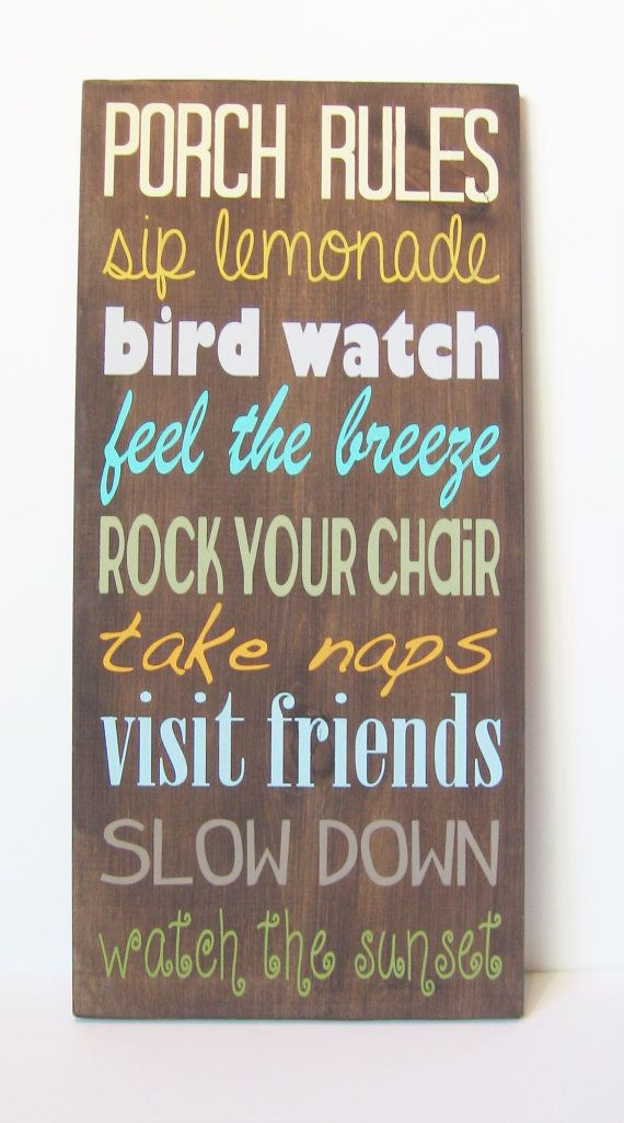24x12 Porch Rules sign multicolored vintage porch by smilecrush, $65.00