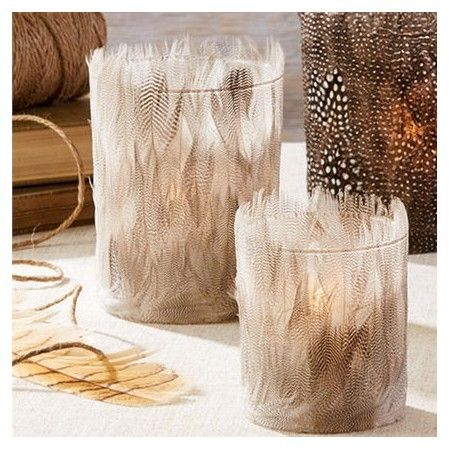 Duck Feather Tealight Candle Holders - Set of 2 - £20.99