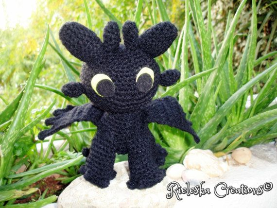 Pdf Crochet Pattern- Toothless Dragon Night Fury amigurumi  size: 7 inches , 18 cm  Price is for the PATTERN only, not the finished product.  There is no