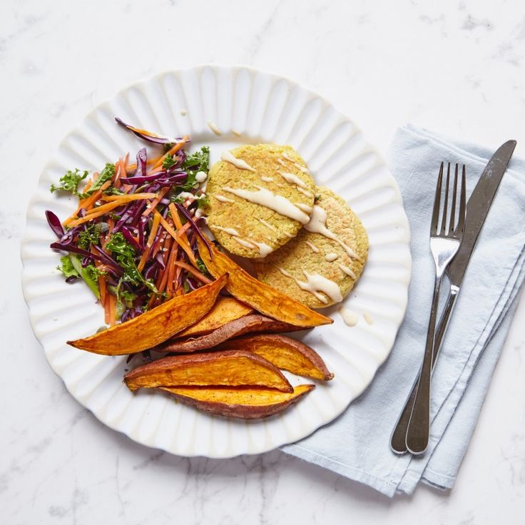 Chickpea Burgers With Sweet Potato Wedges