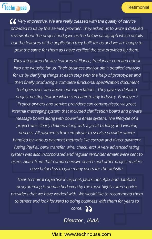 Technousa Consulting Services Private Limited - Review, Testimonial