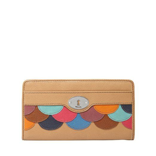 Amazon.com: FOSSIL Marlow Zip Clutch Color: Camel Wallet: Clothing