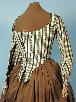 Silk Bodice c. 1780 note the longer sleeves with vertical stripes.
