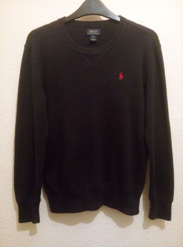 RALPH LAUREN Boy Cotton Navy Crew Neck Sweater Jumper Top Size 14 16 L