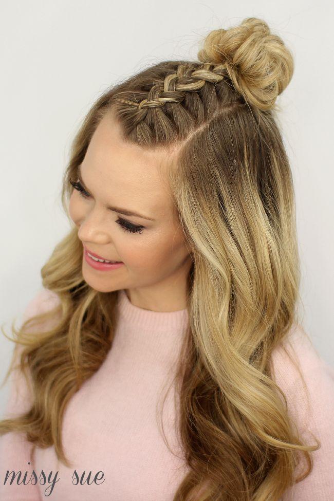 mohawk braid top knot hair tutorials