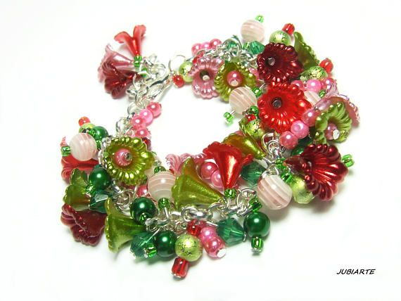 SECRET GARDEN Cluster Bracelet Flowers Colorful Bracelet