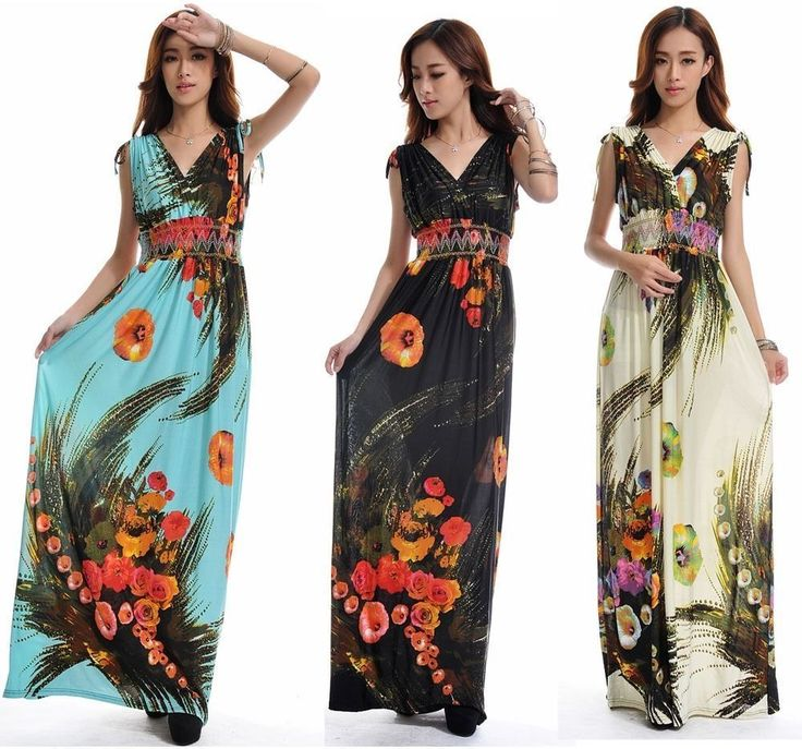 Women M-6Xl Sleeveless V-Neck Bohemian Summer Beach Holiday Long Skirt Maxidress