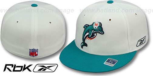 Dolphins 'COACHES-2' White-Aqua Fitted Hat by Reebok on hatland.com